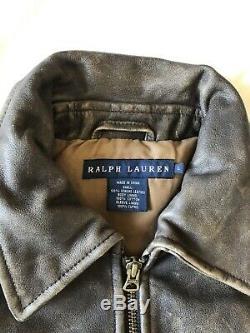 Ralph lauren leather jacket Bomber Aviator Horse Fox Hunt Scene On Back Distress