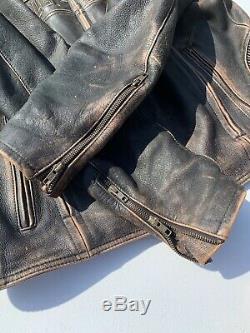 Rare Harley Davidson Mens ROADWAY Distressed Brown Leather Jacket 2XL 98002-11VM