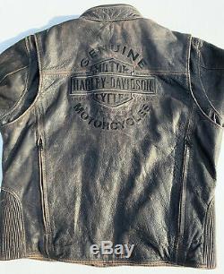 Rare Harley Davidson Mens ROADWAY Distressed Brown Leather Jacket XL 98002-11VM