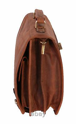 Real Leather Briefcase Vintage Distressed Tan Files Laptop Office Business Bag