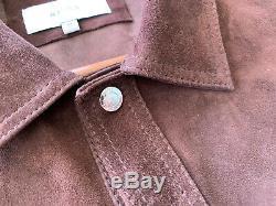 Reiss Mick Brown Suede Jacket Overshirt Medium Vintage Distressed RRP £375