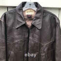 Rich Sher 1950's Vintage Steerhide Leather Half Belt Distressed Jacket Biker 40