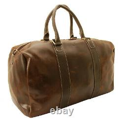Rowallan Brown Distressed Cow Leather Driftwood Travel Bag/Holdall with Strap