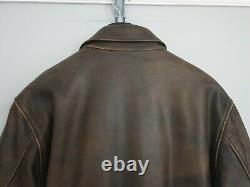 SCHOTT NYC Mens Jacket Thick Leather Wool Distress Brown Bomber Flying Biker M/L