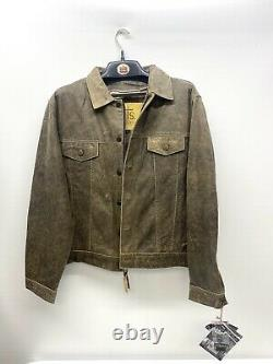 STS Ranchwear Men's Cartwright Jacket Large Distressed Brown Leather New A01-24