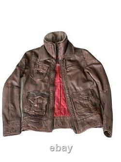 SUPERDRY Tarpit Premium LEATHER JACKET Fur Collar Brown Distressed Medium