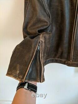 Schott Men's Perfecto Brown Distressed Leather Jacket Size XL