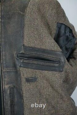 Schott NYC Brown Distressed Bomber Cafe RACER Mens Leather Jacket Sz XL