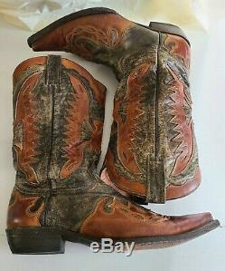 Stetson Mens Outlaw Eagle Western Distressed Wingtip Leather Cowboy Boots Sz 11D