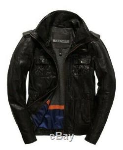 Superdry Ryan Four Pocket Distressed Leather Jacket Size L 40 (102cm) RRP £199