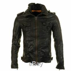 Superdry Ryan Four Pocket Distressed Leather Jacket Size M 38 (97cm) RRP £199