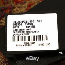 Sz 48 NEW $2,690 SAINT LAURENT Men's MARRAKECH DISTRESSED Tapestry TEDDY JACKET