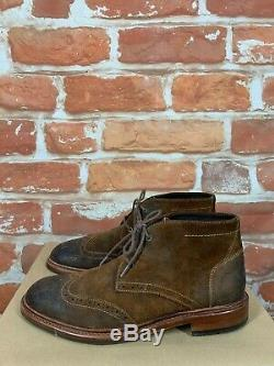 Trask Wingtip Chukka Suede Distressed Leather Brogue Brown Ankle Boots 8.5 D