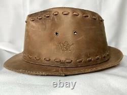 True Religion Fedora Leather Hat 100% Stitching Brown Large XL Distressed Cap
