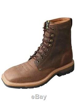 Twisted X Men's Distressed Brown Lite Lace-Up Square Toe Work Boots MLCSL01