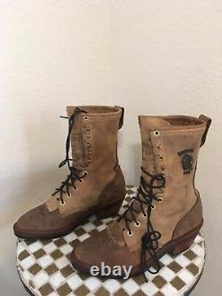 USA CHIPPEWA LACE UP TRUCKER DISTRESSED WESTERN COWBOY BOOTS 8 ee