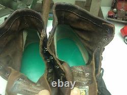 Us Vintage Distressed Chippewa Brown Leather Steel Toe Motorcycle Boots 11 Ee