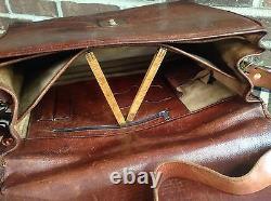 VINTAGE 1980s COGNAC DISTRESSED LEATHER COMBINATION LAPTOP BRIEFCASE BAG R$898