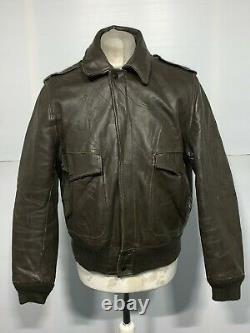 VINTAGE 80's SCHOTT USA ISSUE IS674MS DISTRESSED LEATHER JACKET SIZE 42 / L