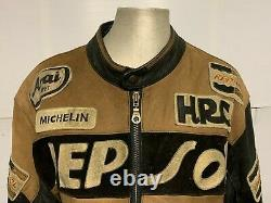VINTAGE 80's TOP GEAR DISTRESSED LEATHER REPSOL MOTORCYCLE RACING JACKET SIZE L