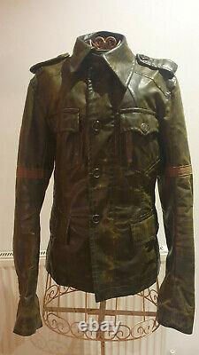 VINTAGE DISTRESSED Dsquared2 Mens Brown Leather Jacket MOTORCYCLE/ Military