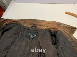 VINTAGE RETRO HEAVY Distressed Brown Eddie Bauer Button Leather Jacket Size XXL