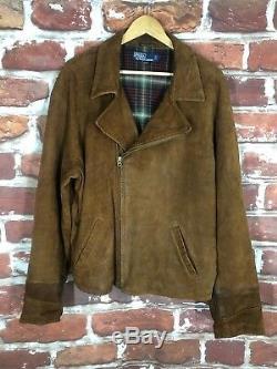 VIntage Polo Ralph Lauren L Distressed Leather RRL Cafe Biker Motorcycle Jacket