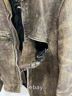 VTG 60s Brooks Cafe Racer Leather Distressed Motorcycle Biker Talon Jacket L-XL
