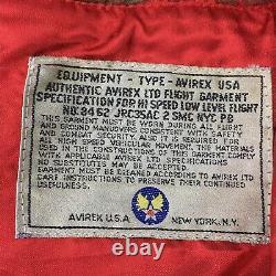 VTG Avirex Brown Distress Leather 1st Air Commando Aviator Flight Jacket Mens L