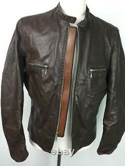 VTG Brooks Brown Distressed Leather Mens Cafe Racer Moto Jacket sz 46 1970s