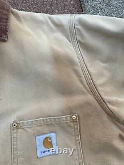 VTG Carhartt Blanket Lined Chore WIP Barn Jacket Coat Duck Faded Distressed M/Lg
