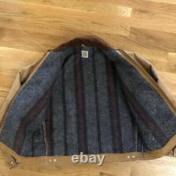 VTG Carhartt Detroit jacket brown blanket Lined Union Made USA Sz S/M Distressed