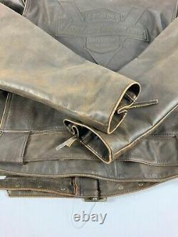 VTG Harley Davidson V Twin Leather Jacket Men's 3XL Brown Distressed Made USA