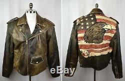 VTG Men's VOLCANO Distressed Leather Motorcycle Moto Riding Jacket USA Eagle XL