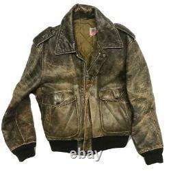 VTG Schott Brown Distressed Bomber Leather Jacket Mens Size 40