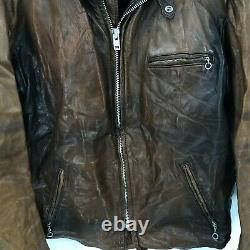 VTG Schott Mens Distressed Brown Leather Jacket Size 48 USA Made with Lining