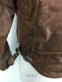 VTG Schott Perfecto Distressed Brown Leather Mens Moto Biker Jacket sz 40 USA