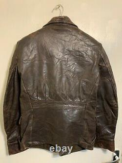 Vintage 30's Swedish Distressed Leather Half Belt Motorcycle Jacket Size M