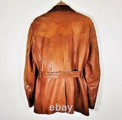 Vintage 30s 40s Belted Brown Leather Jacket Distressed Western Rancher Coat 44