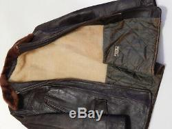 Vintage 40's BOMBER STYLE Flight Jacket Distressed Brown Leather Horsehide