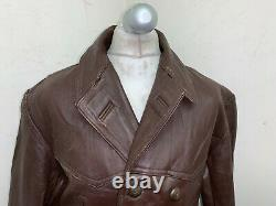 Vintage 40's Ww2 French Distressed Leather Barnstormer Jacket Size 2xl Wool Line