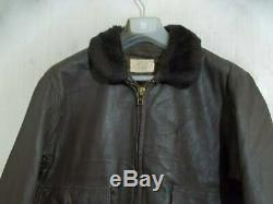 Vintage 60s USN G1 STAR SPORTS Wear Distressed Goatskin Leather Flying Jacket 44