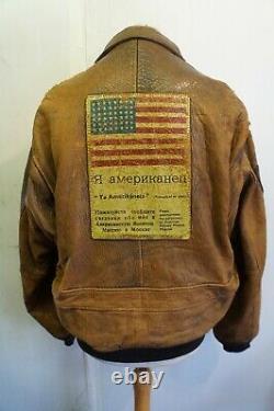 Vintage 70's Avirex U. S. N Distressed Leather Flight Bomber Leather Jacket Uk XL