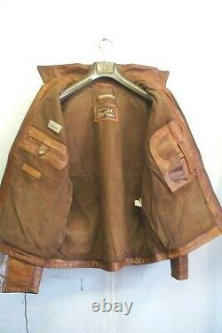 Vintage 80's Italian Stewart Garret Distressed Leather Highwayman Jacket Size XL