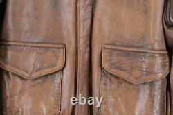 Vintage 80s Avirex Mens 40 Distressed Leather A-2 Flight Bomber Jacket USA Brown