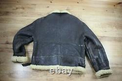 Vintage Aviator B3 Flight Mens Leather Sheepskin Shearling Bomber Jacket Coat L