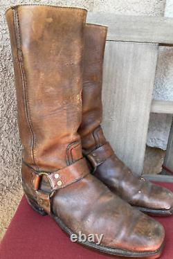 Vintage Black Label Frye Harness Boots Size 11 D Distressed Motorcycle Engineer