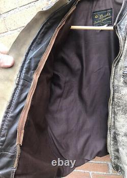 Vintage Brown Brooks Leather Motorcycle Jacket Cafe Racer Distressed Men Size 42