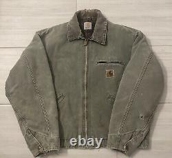 Vintage Carhartt Blanket Lined Canvas Detroit Jacket Cord Collar Size Large