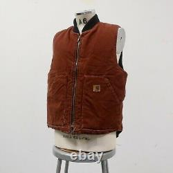 Vintage Carhartt Distressed Canvas Work Vest Size L Made in USA Wip